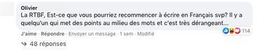 Un commentaire qui s'interroge sur l'utilisation du point médian sur notre page Facebook RTBF Info.