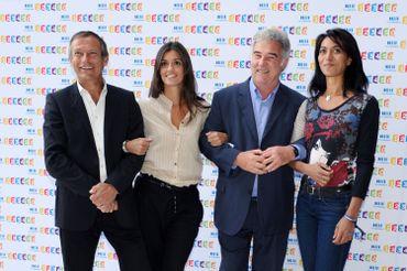 """Laurent Bignolas, Tania Young, Georges Pernoud et Sabine Quindou aux commandes de """"Thalassa"""", en 2011"""