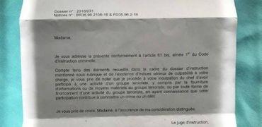 La lettre envoyée par le juge d'instruction à Véronique Loute.
