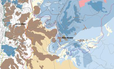 En beige, les villages palestiniens. En bleu, les colonies israéliennes et la zone E1.