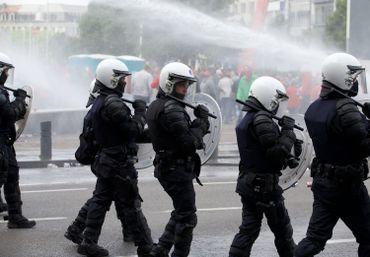 La police belge lors de manifestation en mai 2016 à Bruxelles