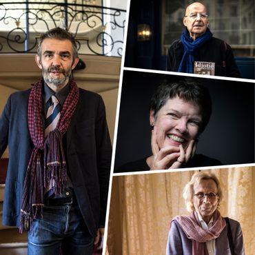 À gauche: Philippe Lançon. À droite, de haut en bas: Pierre Guyotat, Alice McDermott  et Elisabeth de Fontenay.