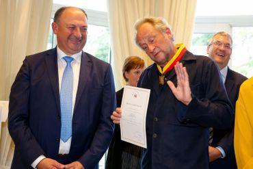 Benoît Poelvoorde et Willy Borsus, le 12 septembre 2019 à Namur