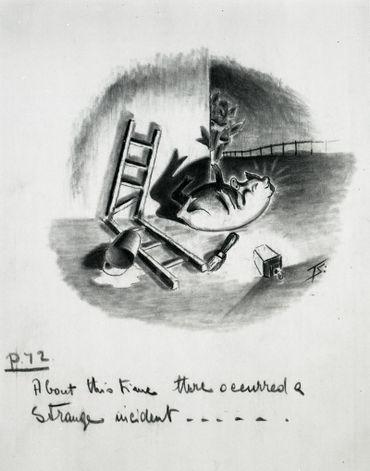 Dessin préliminaire pour la conception du dessin animé éponyme en 1950