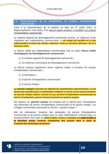 Extrait du vade-mecum de la Direction générale opérationnelle de l'économie, de l'emploi et de la recherche.