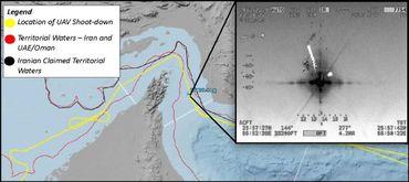 L'armée américaine a publié cette carte, montrant que le drone Global Hawk a été abattu dans l'espace aérien international.