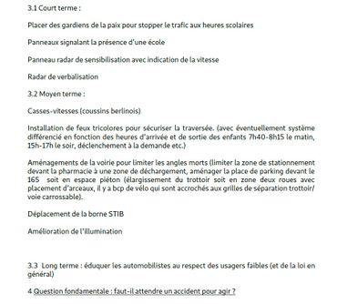 La dernière page de la note envoyée il y a quelques jours par un habitant du quartier à Bruxelles-Mobilité pour demander des actions urgentes sur place