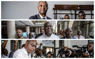 De haut en bas, Emmanuel Ramazani Shadary (candidat désigné par Joseph Kabila), Félix Tshisekedi (candidat de l'UDPS) et Martin Fayulu (candidat supposé unique de l'opposition)