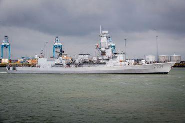 Le frégate Léopold 1 dans le port de Zeebruges en 2019