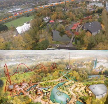En haut de l'image, la situation actuelle. En bas, une projection de ce que souhaite faire Walibi sur les quatre hectares de zone verte.