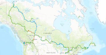 La carte du Grand Sentier qui traverse le Canada de part en part.
