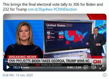 CNN annonce les résultats à l'aide d'une carte qui représente les Etats remportés par les Républicains ou les Démocrates.