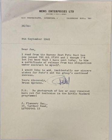 Les Beatles: une lettre confirmant le départ de Pete Best aux enchères
