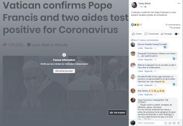 Le post relatif à la communication du Vatican selon laquelle le pape François avait été testé deux fois positif au Coronavirus.