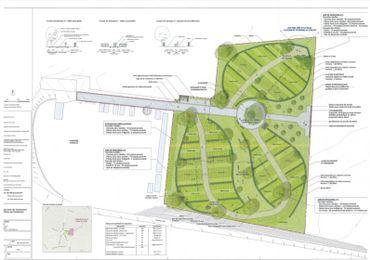 Le cimetière actuel se trouve à gauche de la partie verte, sous l'allée. En vert, l'extension qui ressemble à une fleur.