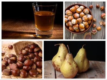 Bavarois aux marrons, compotée de poires au rhum et biscuits dacquoise aux noisettes torréfiées