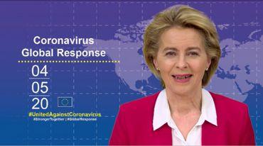La présidente de la Commission européenne, Ursula von der leyen, qui anime le téléthon mondiale pour lever des fonds pour la recherche contre le Covid-19