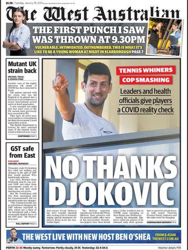Novak Djokovic n'est pas épargné, dans la presse australienne