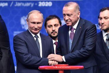 V. Poutine et R. T Erdogan à l'inauguration du gazoduc Turkstream à Istanbul.