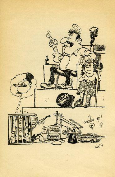 """Caricature parue dans la brochure des Dolle mina gantoises :"""" La famille, la pierre angulaire                  de notre société?"""", 1977"""