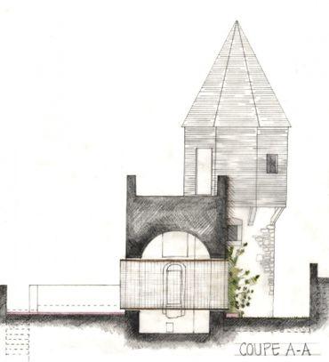 Atelier Alain Richard: Aménagement sur le parcours touristique dans la Tour des Vieux Joncs (Coteau de la Citadelle, Liège). Croquis de Eleonore Delecour