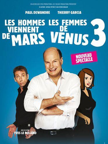 """Affiche du spectacle """"Les hommes viennent de Mars, les femmes de Vénus"""""""