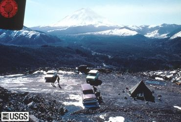 Le camp de base de Coldwter Ridge, à 10 kilomètres du Mont Saint Helens où les volcanologues installeront leur observatoire.
