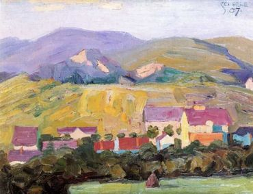 "Village with Mountains Dorf mit Bergen 1907. Oil on paper. Signed ""Schiele"" and dated, upper right and verso. Sketch of a landscape with horse and cart, verso. 8 1/2 x 11"" (21.7 x 28 cm)."