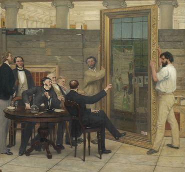 Louis Delbeke, Le Jury et le juge à Paris/ Les Perplexité d'un jury, ou le Jugement de Paris, ca 1877, huile sur toile, 54 x 65 cm. Bruxelles, musée d'Ixelles, inv. CC1520