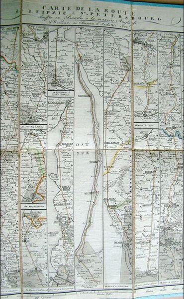 """Carte de 1802 du """"Guide des voyageurs en Europe"""", itinéraire de Leipzig à Saint-Pétersbourg"""
