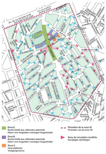 Cartographie de la circulation autour de la zone apaisée d'Ixelles.