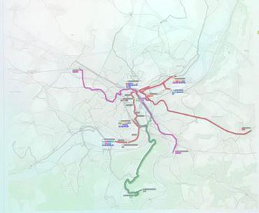 En mauve, une nouvelle ligne rapide vers Ans et vers Chênée, en verts, les deux lignes vers le Sart Tilman