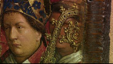 Détail du retable peint par les Primitifs flamands