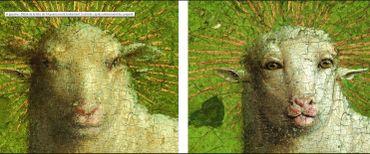 Le fameux agneau mystique avant et après restauration