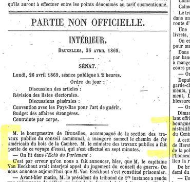 Extrait du moniteur belge du 26 avril 1869, qui relate l'inauguration de la 1ère ligne de tramway bruxelloise le 24 avril 1869.