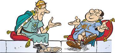 caricature d'Uderzo (à gauche) et de Goscinny (à droite) en sénateurs romains