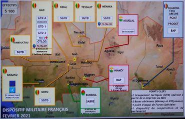 Carte des emplacements de l'armée française au Sahel, Paris, le 16 février 2021.