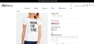 Voici la page web de Reitmans, sur laquelle on découvre le t-shirt « Mom I'm fine ». Des dizaines de milliers de t-shirts mais aussi de sacs et d'étuis de lunettes ont été commercialisés ou distribués sur le sol canadien.