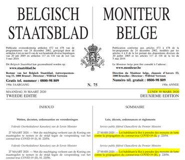 Les extraits du moniteur belge du 30 mars 2020