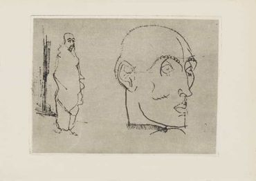 Portrait of a Man Männliches Bildnis 1914. Drypoint. The plate originally also bore a figure by Robert Philippi.