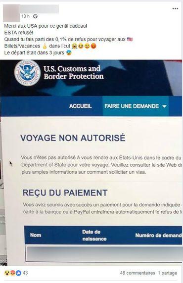 Sur Facebook, un candidat au voyage vers les Etats-Unis partage sa déception de voir sa demande d'ESTA refusée.