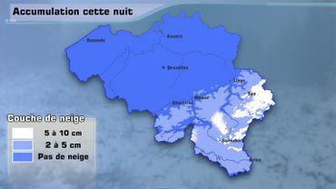 Une accumulation est à prévoir sur les hauteurs de l'Ardenne, au-dessus de 400m : de deuxà dixcentimètres possibles selon l'altitude