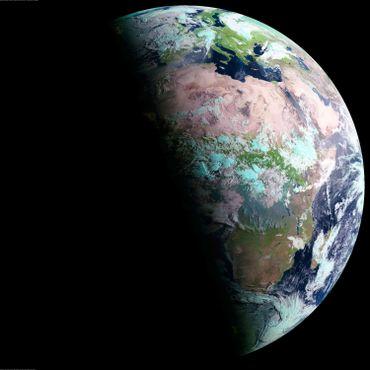 Vue de la Terre au solstice de juin. C'est l'été dans l'hémisphère nord et c'est l'hiver dans l'hémisphère sud.