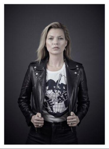 Kate Moss porte le t-shirt Save the Arctic.