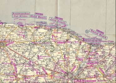 Carte Michelin de la Bataille de Normandie. La carte d'époque a été rééditée, avec des indications actuelles sur les lieux touristiques et de mémoire.