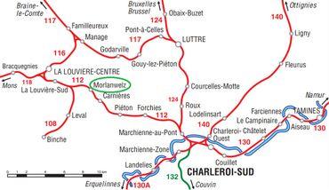 Réseau ferroviaire au entre Charleroi-Sud et La Louvière