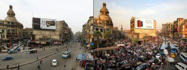 Images capturées dans le centre-ville du Caire (à gauche: le 29 mars / à droite: le 25 mars)