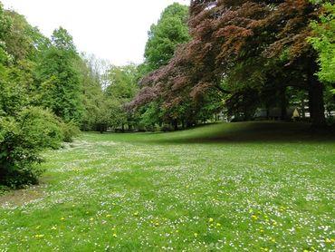 Cet espace vert est doté d'une importante pièce d'eau et conserve le plus gros noyer noir de Belgique.