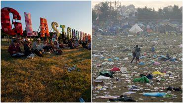 A gauche : une photo prise à Glastonbury en 2010. A droite : la plaine du même festival recouverte de déchets en 2015.