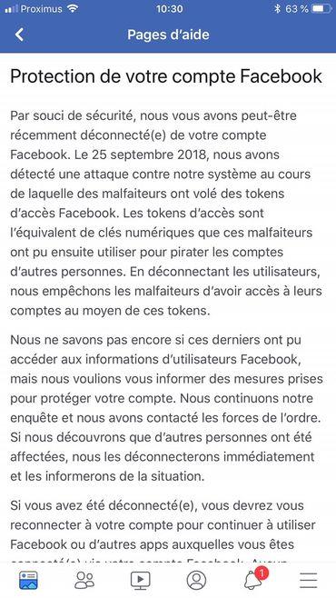 Le message reçu si votre compte Facebook a été déconnecté.